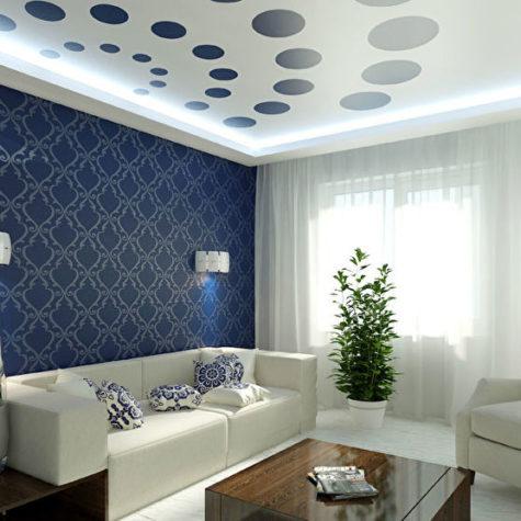 Натяжной потолок с фотопечатью и светодиодной подсветкой